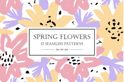 Spring flowers. Patterns collection