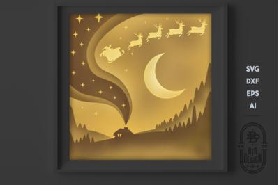 Christmas SVG 3D Scene, Christmas Eve Layered Design