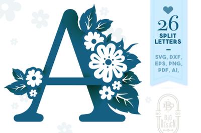 Floral Monogram - Valentine Monogram with Flowers SVG