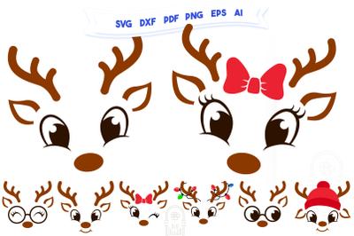 Christmas SVG - Cute Reindeers SVG Chris Bundle