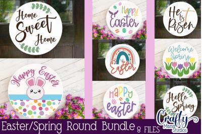 Easter SVG Bundle, Easter Round Sign, Welcome Spring Porch