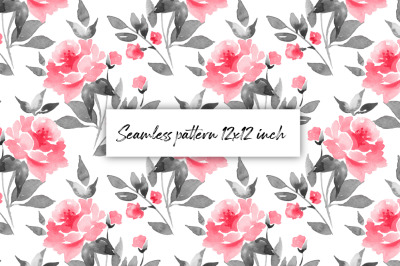 Seamless floral pattern. Red flowers