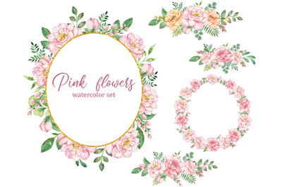 Floral Wreath Watercolor clipart. Pink Roses, wedding Flowers, floral