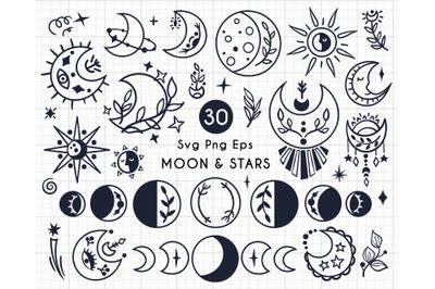 Moon & Stars - black-white SVG set