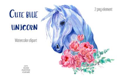 Cute blue unicorn clipart Watercolor