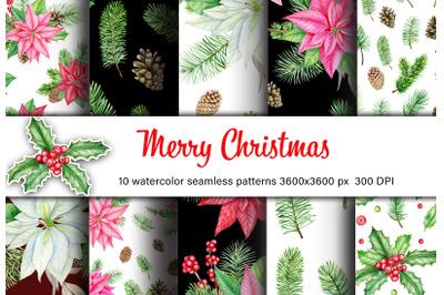 Christmas watercolor digital paper. Winter woodland seamless pattern.