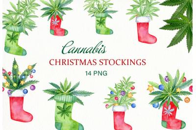 Cannabis christmas stockings clipart set. Watercolor Marijuana leaves
