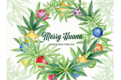 Cannabis christmas wreath clipart, round floral xmas frame clip art