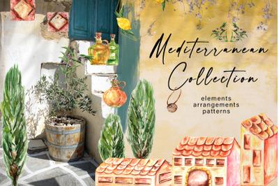Watercolor Mediterranean Clipart. Patterns & Gold Frames