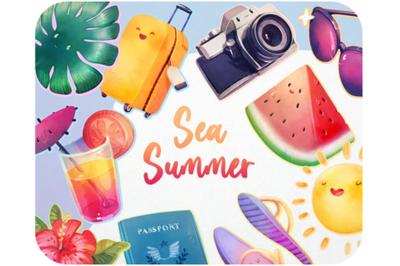 Watercolor cartoon Summer Beach cute Kids Travel sticker Sea