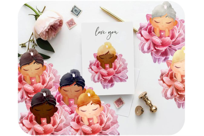 Custom Watercolor Peony clipart Fairy Princess Baby shower