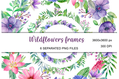 Watercolor wildflowers frames, wreath invitation clipart PNG