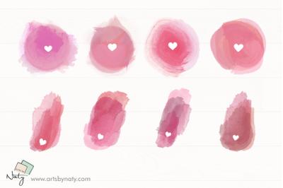 Sublimation heart watercolor elements.