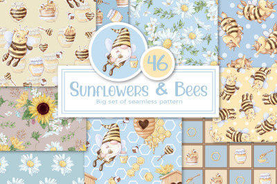 Sunflowers and Bees. Big set of seamless patterns digital paper.
