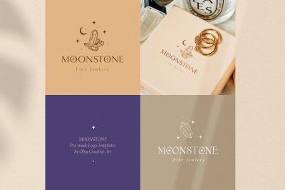 Moonstone Pre-Made Brand Logo Design. Bohemian, Mystic, Spiritual.