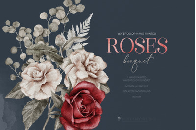 Watercolor Roses Spring Bouquet Wedding Flowers PNG