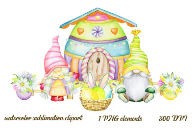 Easter Gnomes PNG, Watercolor clip art, Sublimation Graphics, Instant