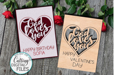 Love Birthday Card svg dxg cut out papercut template