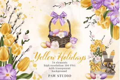 Easter Spring Clipart Yellow Tulips Willow Twigs Basket Bunny Eggs