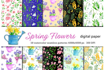 Watercolor spring flowers seamless patterns. Hand drawn easter