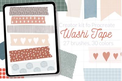 Washi tape Procreate stamps. Digital scrapbooking Procreate stamps