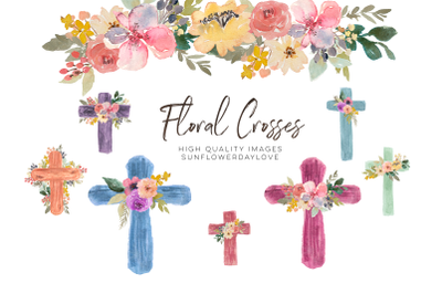 Watercolor Floral Crosses clipart, First Communion Flower cross