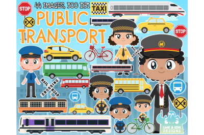 Public Transport Clipart - Lime and Kiwi Designs