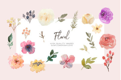 Wedding clipart, Pink Flowers clipart, Hand Painted Watercolour Floral