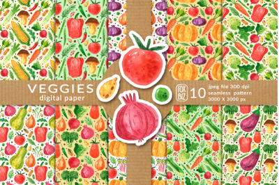 Vegetables digital paper, seamless pattern. Packaging design