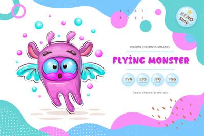 Cute cartoon flying monster.