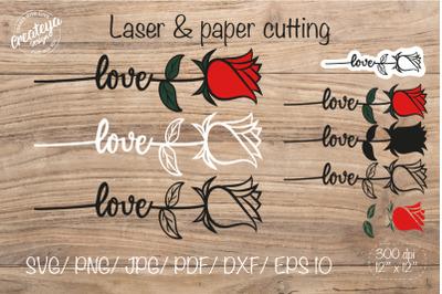 Rose SVG, Flower SVG, Rose outline, Flower laser
