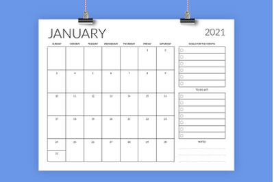 8.5 x 11 Inch 2021 Planner Calendar