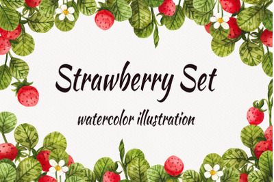 Watercolor strawberry, watercolor clipart with berries and leaves
