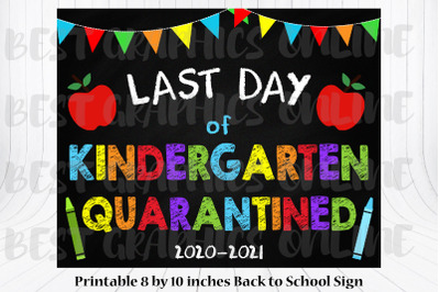 8x10 Last Day of Kindergarten Quarantined Back to Shool Sign