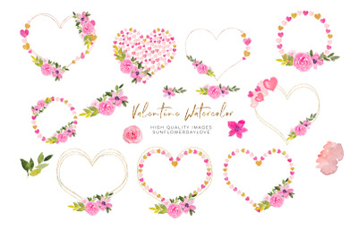 Heart Floral Pink Gold Frame Clipart, Geometric Heart, Flower Borders