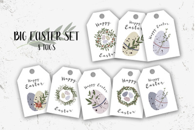 8 Easter tags. Cute Easter egg. Eco rustic decoration