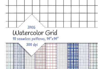 Grid Watercolor Geometric Seamless Patterns
