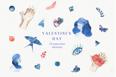 Valentine's day set of watercolor-aquarelle illustrations for Valentin