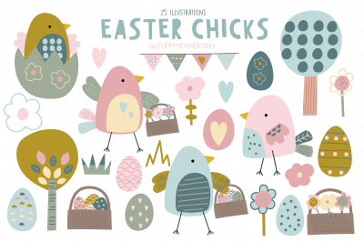 Easter Chicks clipart set