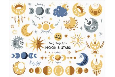 Celestial set - Moon and Stars SVG