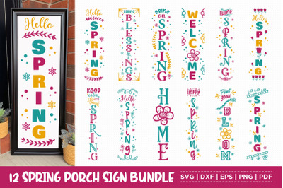 Spring Porch Sign Bundle, 12 Spring vertical Sign SVG