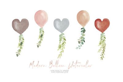 TERRACOTA Balloon watercolor clipart, Boho Floral balloon clipart