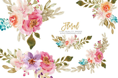 Pink Lilac Spring Floral Bouquet , Floral Wedding Clipart, Wreath Clip