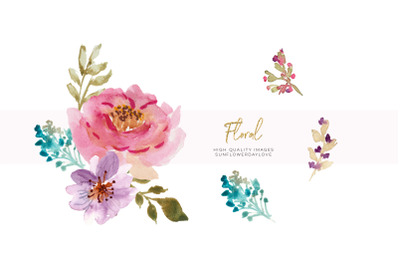 Hand Painted Watercolour Floral Clipart, Spring floral clipart, Flower