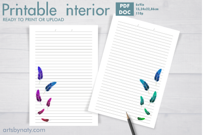 Colorful feathers notebook to KDP print.
