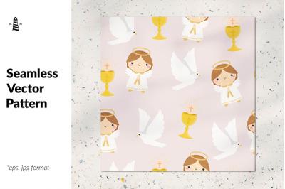 First communion seamless pattern