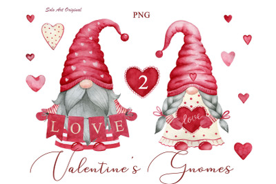 Valentine's Gnomes Red Hearts Clipart PNG Watercolor Clip art Love art Valentine's day invitation Greeting card Scrapbooking