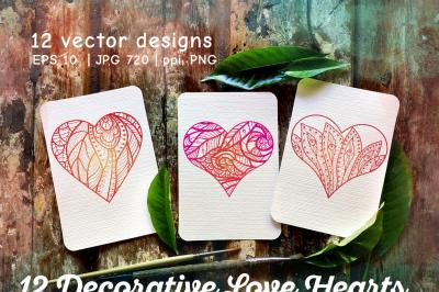 12 Decorative Love Hearts