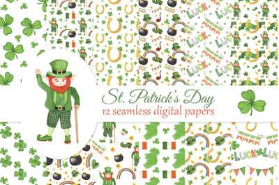 St. Patrick's Day digital papers set, seamless pattern with leprechaun, pot of gold, Irish flags, scrapbook paper, decoupage paper