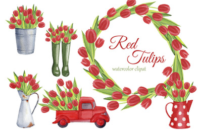 Red Tulips watercolor clipart. Spring PNG. Farmhouse clipart